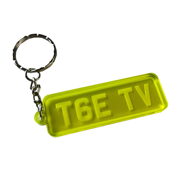 Personalised Frozen Yellow Number Plate Keyring
