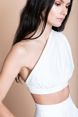 Cotton Draped Crop Top