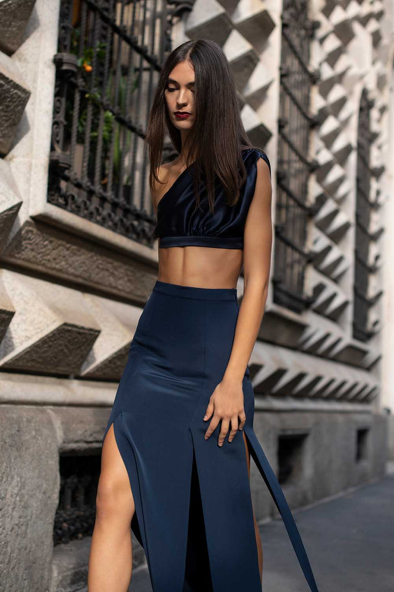 Draped crop top blue