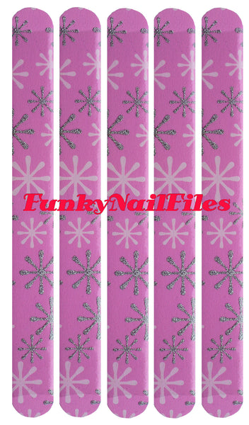 FunkyNailFiles SNOWFLAKE on PINK (pack of 5)