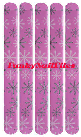 FunkyNailFiles SNOWFLAKE on PINK (pack of 5) - AldersCourt