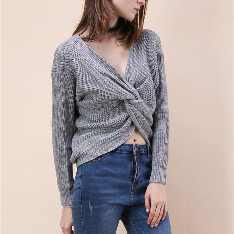 6310a5a9a20 Cross Tie Backless Sweater - gearguruu.com