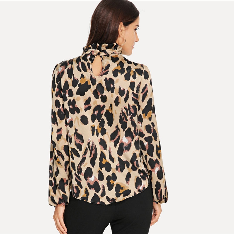e8d96715419 Leopard Print Bishop Sleeve Top - gearguruu