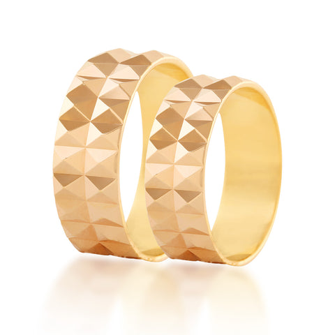 Pyramid couple band ring