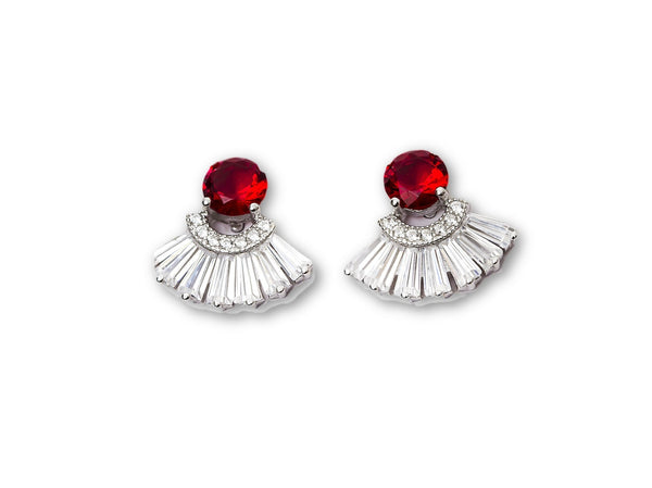 925 Synthetic Ruby Princess Sterling Silver Earrings