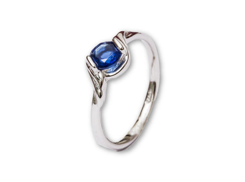 Synthetic Blue Sapphire Solitaire Sterling Silver Ring