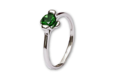 Synthetic Emerald Solitaire Sterling Silver Ring