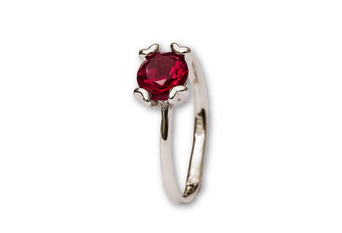 Synthetic Ruby Solitaire Sterling Silver Ring