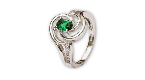 Simulated Emerald Sterling Silver Forever Ring