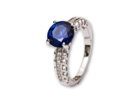 Pop-Up Blue Sapphire Sterling Silver Ring