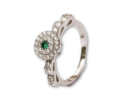 Emerald Flower Sterling Silver Ring