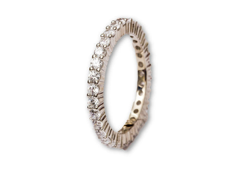 Modern Synthetic Band Silver Ring