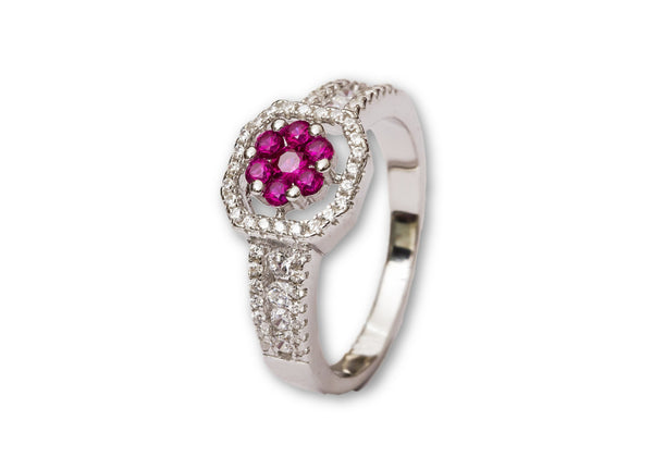 Princess Ruby Cubic Zircon Silver Ring