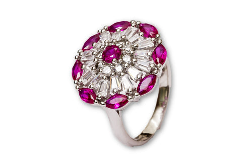 Synthetic Ruby Cocktail SIlver Ring
