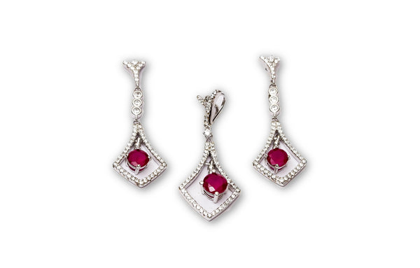 Synthetic Ruby Sterling 925 Silver Pendant Set