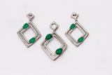 Diamond Box Emerald 925 Sterling Silver Pendant Set