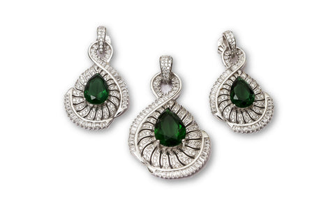 Synthetic Emerald Sterling Silver Pendant Set