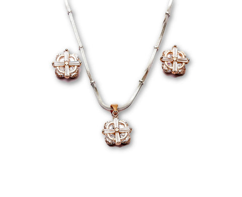 Rose Tone 925 Budget Cut Sterling Pendant Set