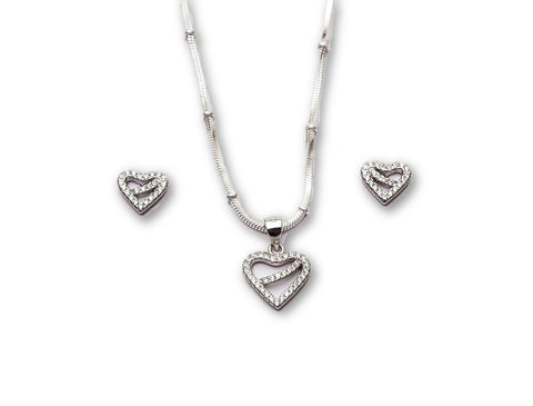 Heart Shaped 925 Sterling Silver Pendant Set