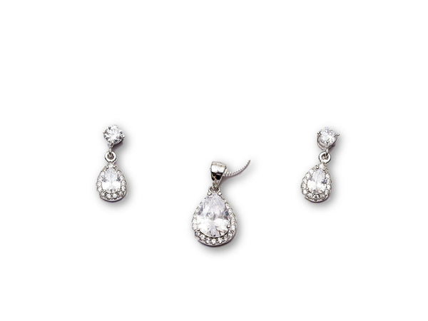 Cubic Zirconia Pear Silver set