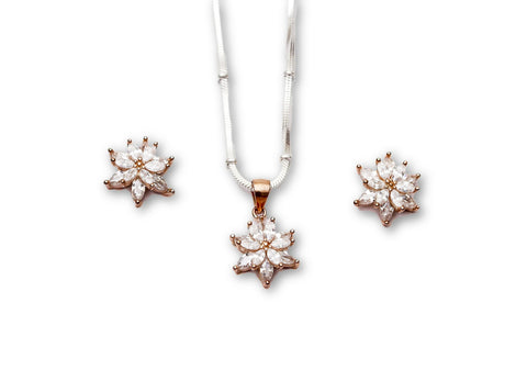 Rose tone 925 Sterling Silver Pendant Set