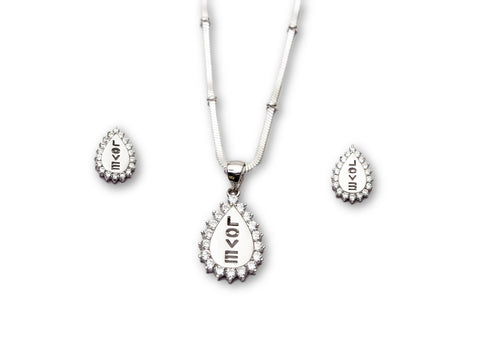 Love Plate 925 Sterling Silver Pendant Set