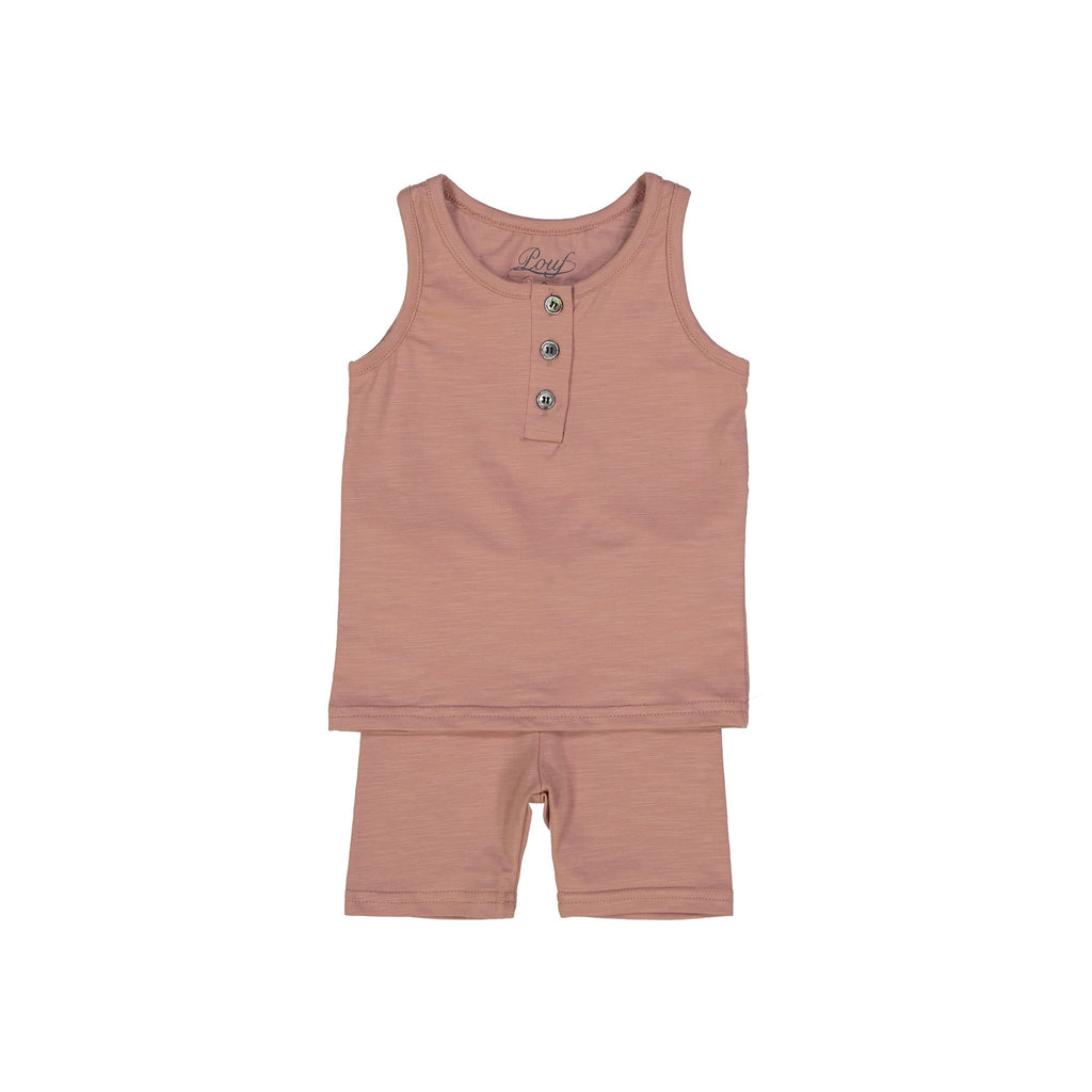 Henley Tank Pajamas - Dusty Pink