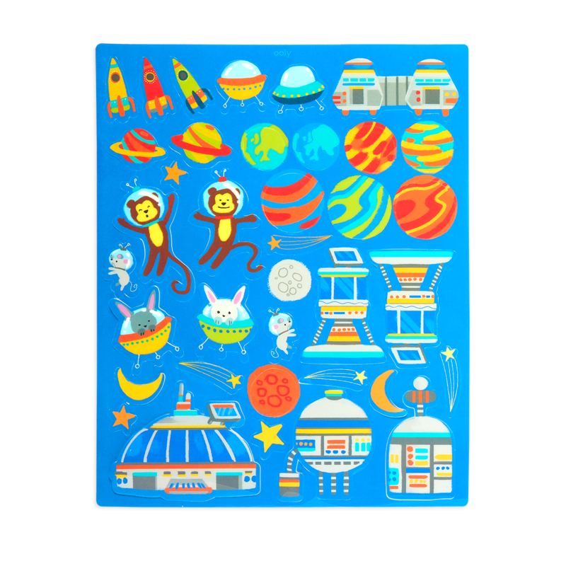 Play Again! Space Critters Reusable Stickers