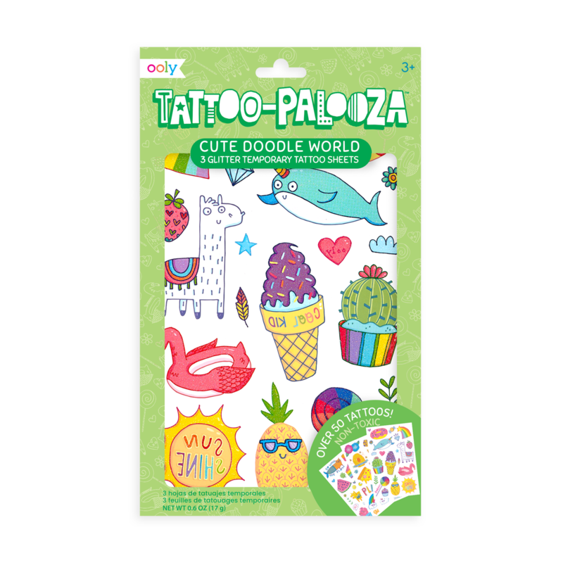 Temporary Tattoos - Cute Doodle World (Glitter)