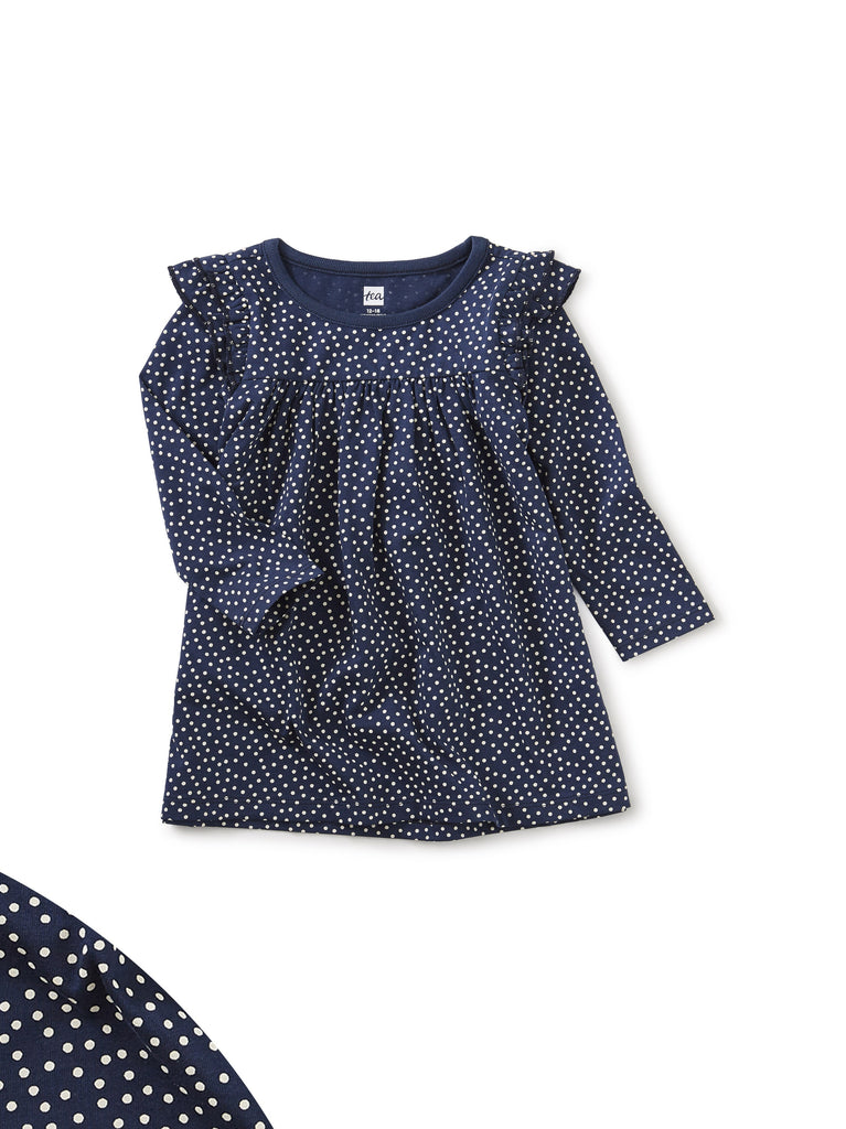 Ruffle Shoulder Baby Dress - Navy Dot