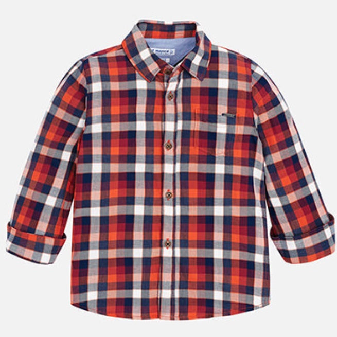 Orange Plaid Button Down Shirt