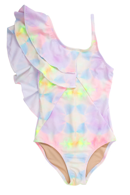 Tie-Dye Ruffle Shoulder Swimsuit