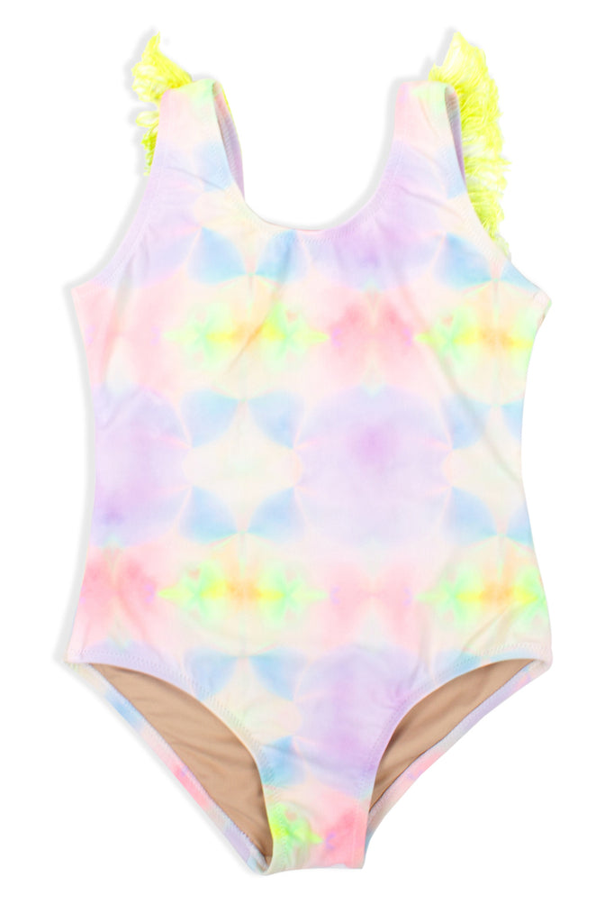 Tie-Dye Fringe Back Swimsuit