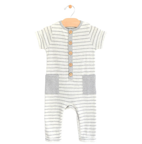 Grey Stripe Button Romper
