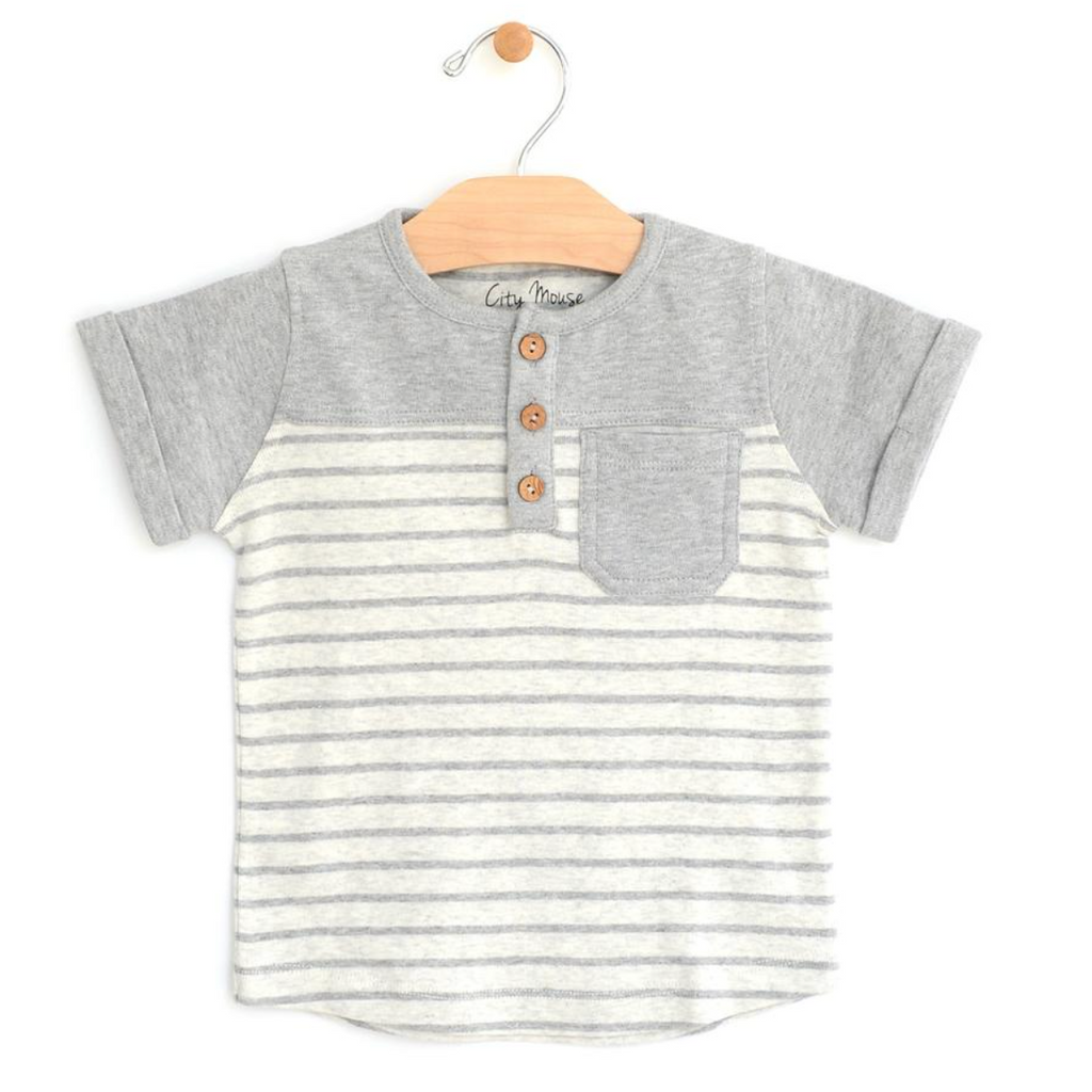 Grey Stripe Henley Tee