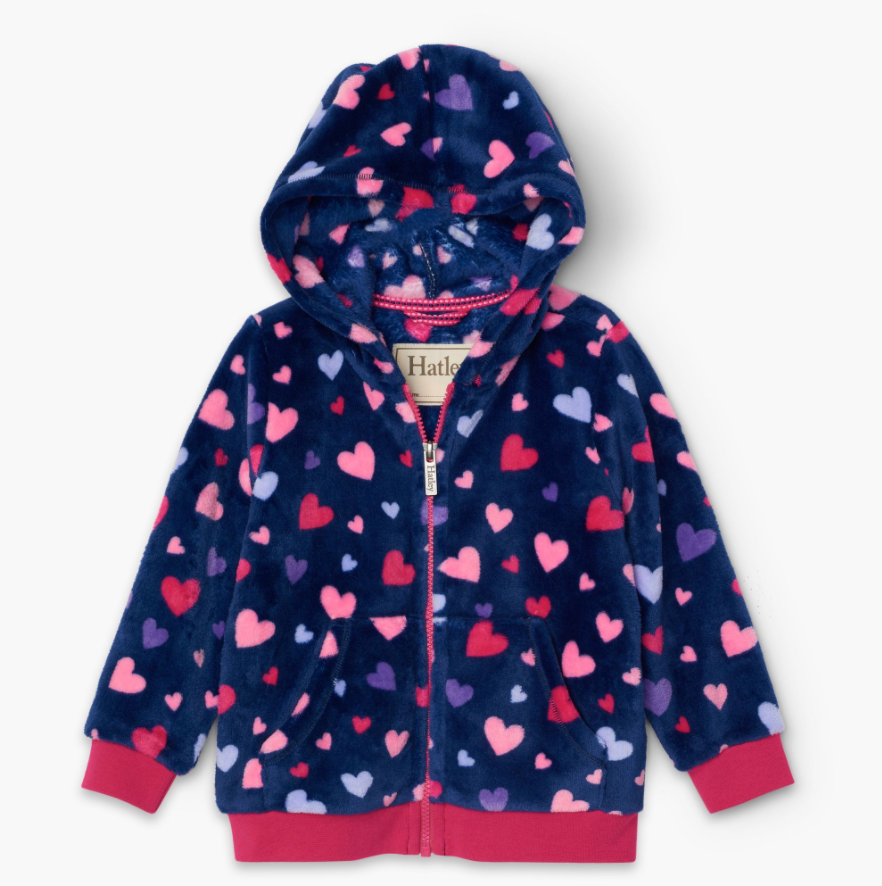 Fuzzy Fleece Jacket - Confetti Hearts