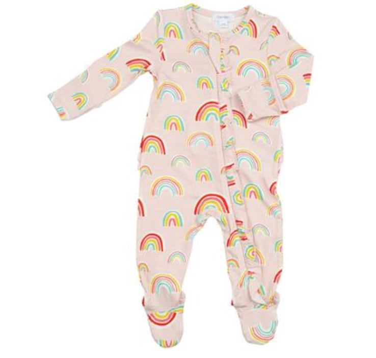 Ruffle Zip Footie - Rainbows