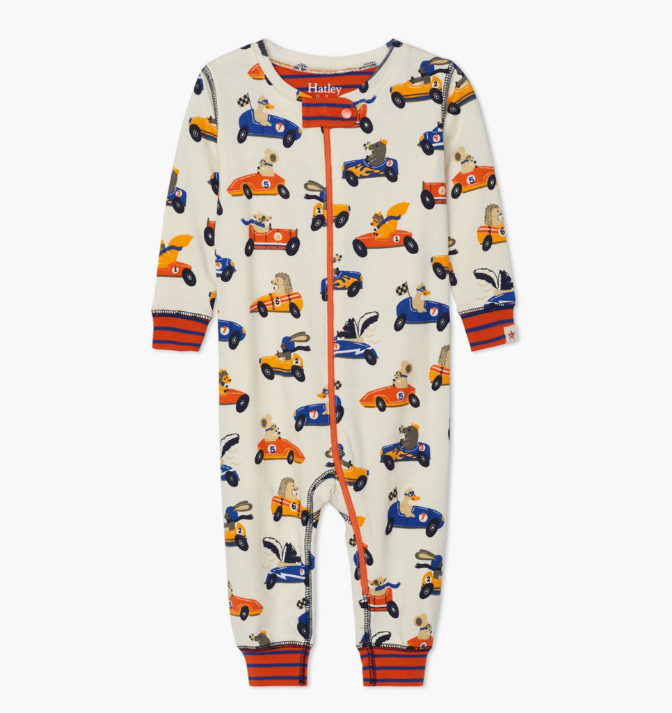 Organic Footless Coverall - Racing Animals