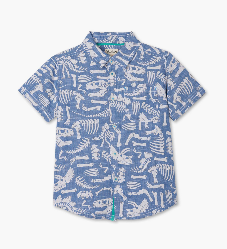 Short Sleeve Button Down - Dino Fossils