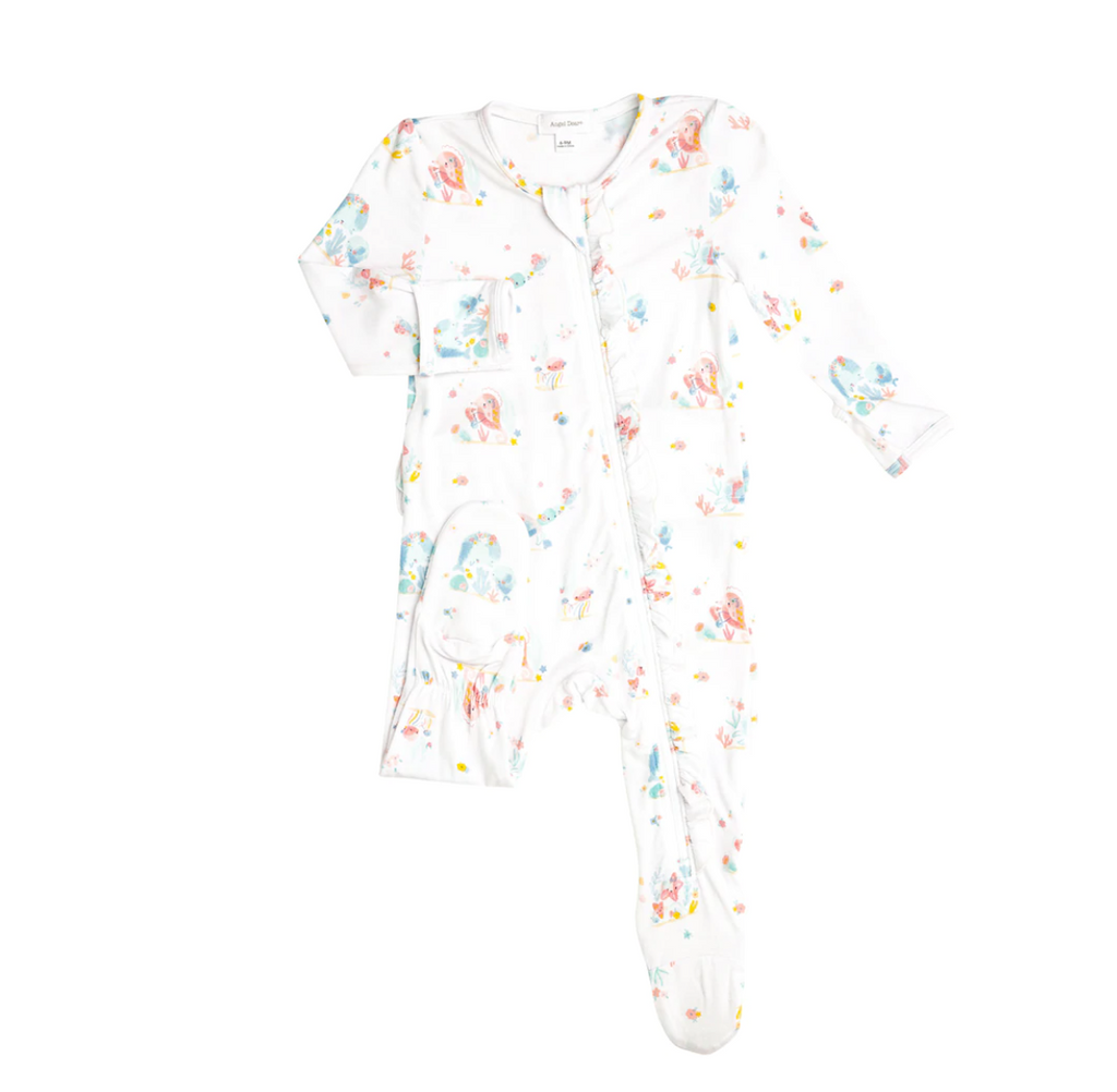 Ruffle Zip Footie - Iridescent Sea Creatures