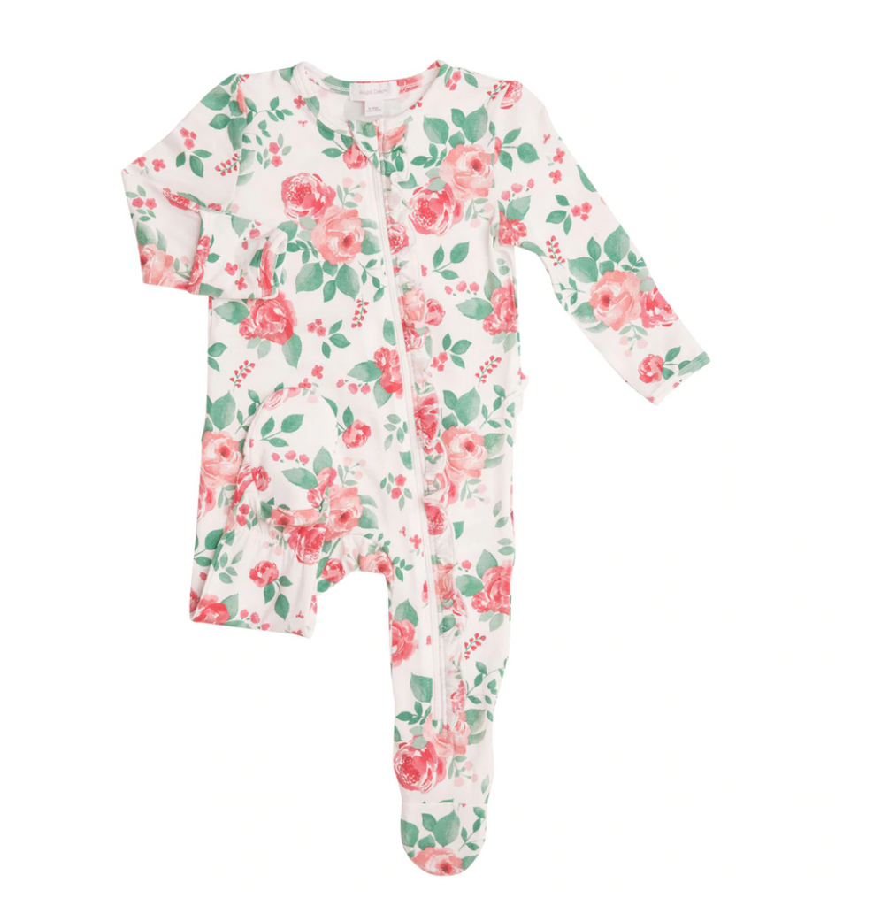 Ruffle Zip Footie - Rose Garden