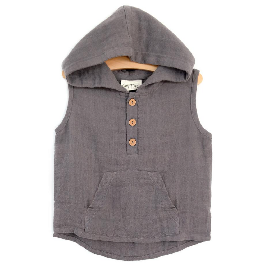 Muslin Hooded Henley - Steel