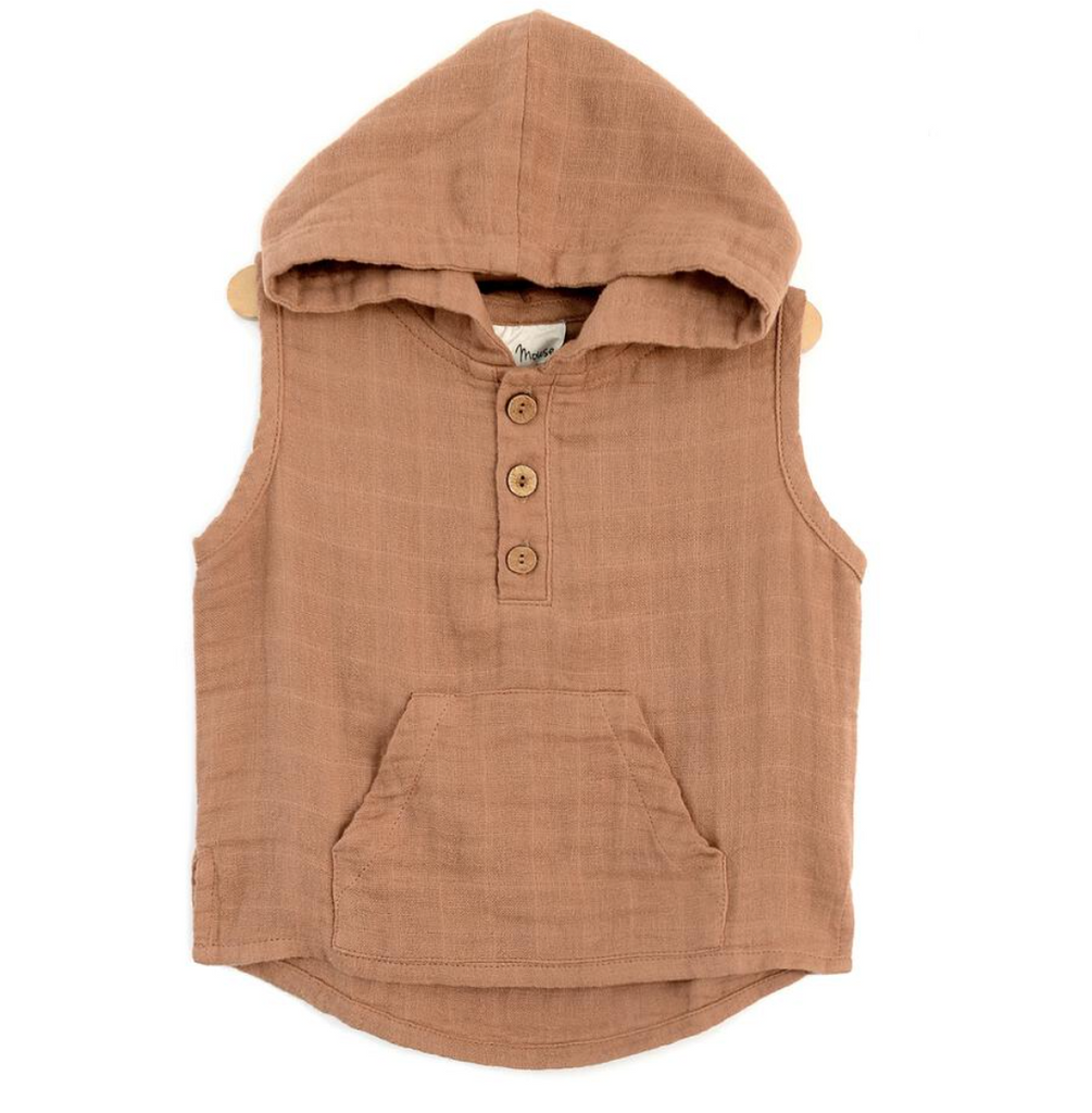 Muslin Hooded Henley - Latte