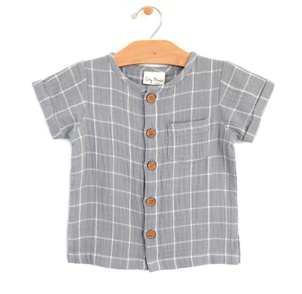 Button Down Tee - Windowpane