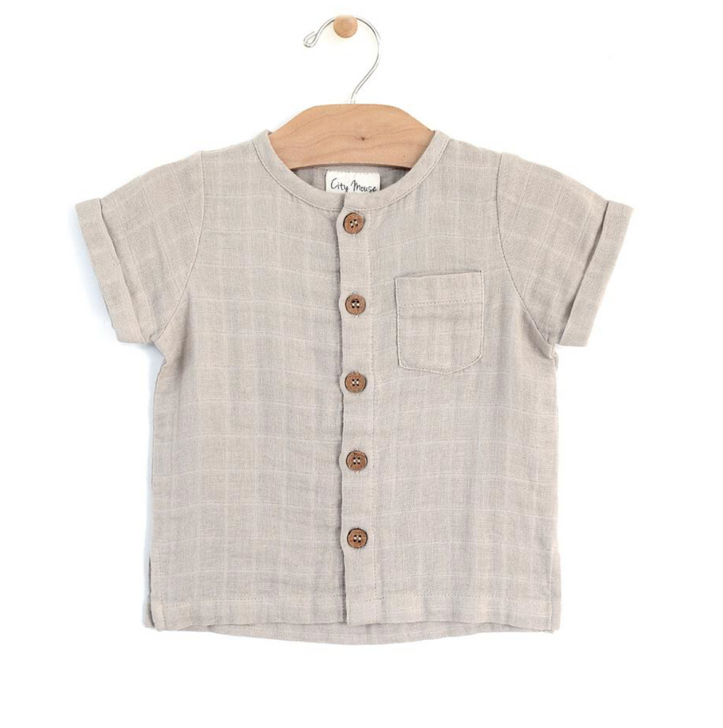 Button Down Tee - Rain Cloud