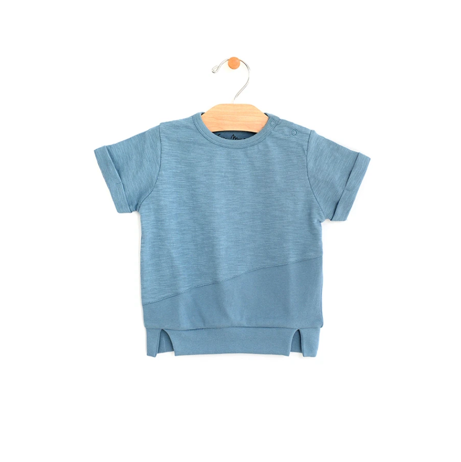Mixed Media Short Sleeve Tee - Ocean