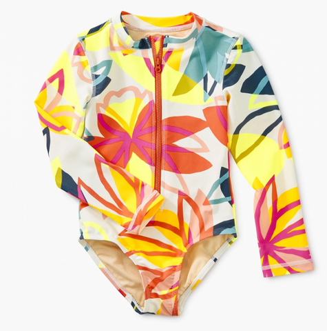 Printed Long Sleeve Rash Guard One Piece