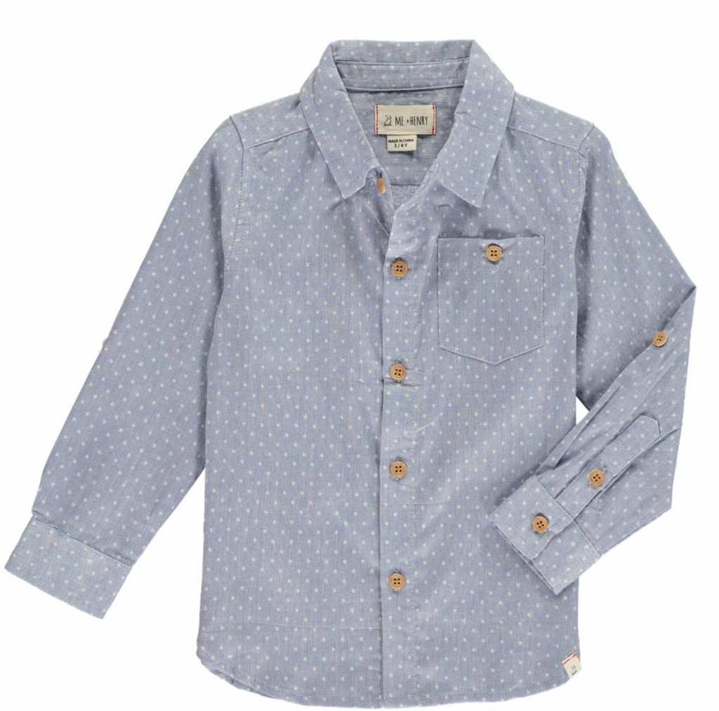 Blue Spot Button Down