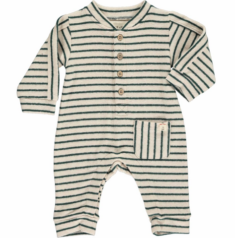 Green Stripe Romper