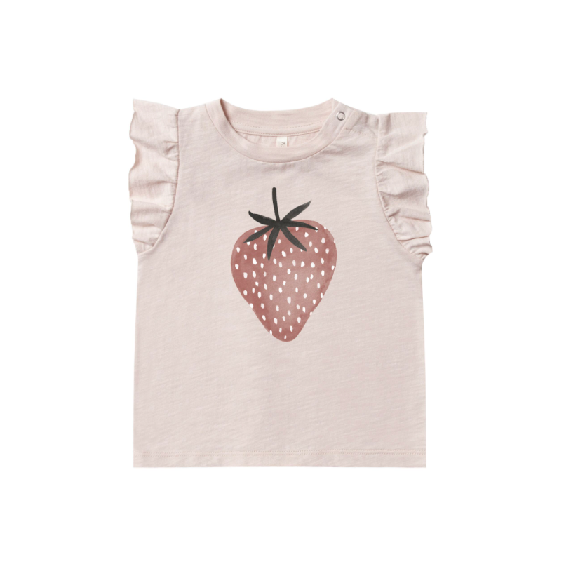Rylee + Cru Ruffle Tank - Strawberry